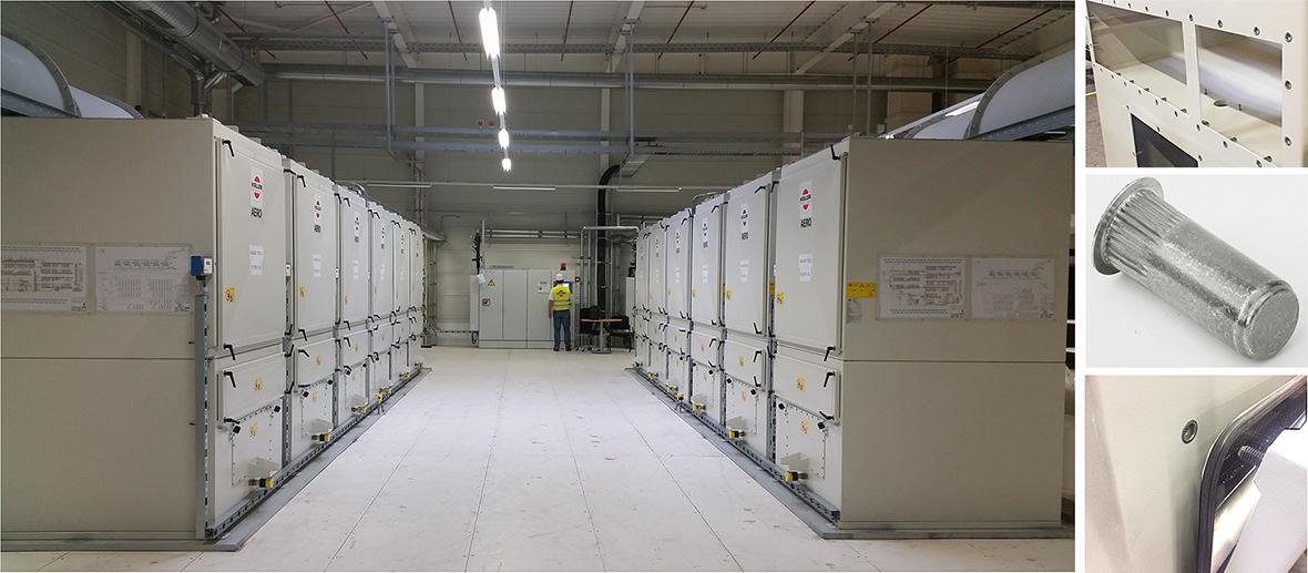 Uzavřené vysokovýkonné nýtovací matice v průmyslových odsávacích systémech