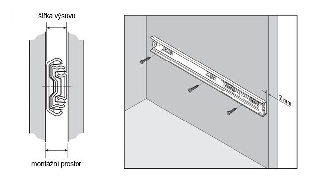 technické specifikace pro teleskopické výsuvy